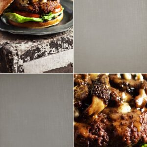 Two images of hamburgers with morel mushrooms.