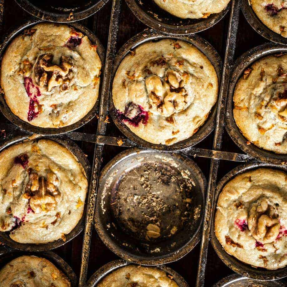 Looking down on full muffin tin with one missing