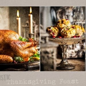 three pictures of elements of thanksgiving feast preparation