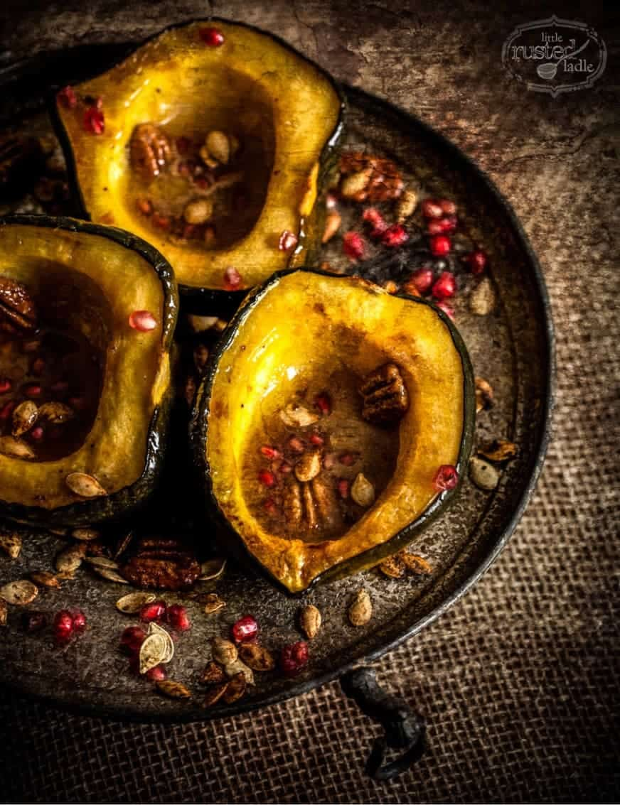 Pomegranate Squash with Spiced Squash Seeds Recipe | www.littlerustedladle.com