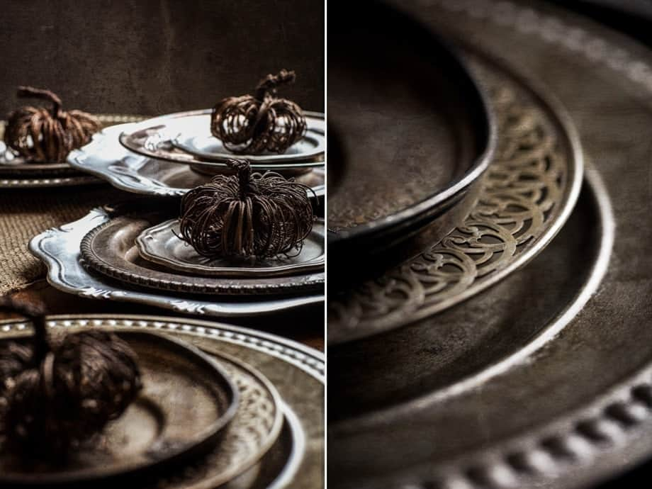 Center Piece | Mixed Metals and Metallics Table Setting | Thanksgiving Table Scape Feast Recipes and Styling Tips | www.littlerustedladle.com