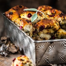 Thanksgiving Stuffing Pull Apart Bread in decorative tin