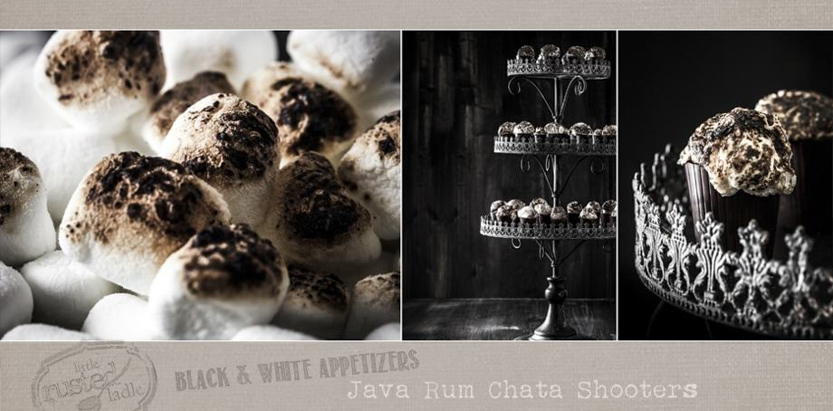 Java Rum Chata Shooters with Toasted Marshmallows | www.littlerustedladle.com