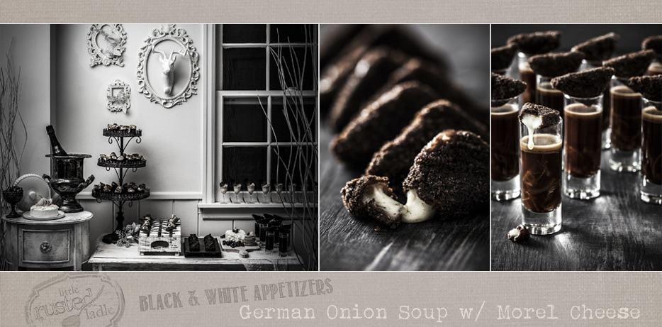 Appetizers   German Onion Soup   Black and White Food   www.littlerustedladle.com
