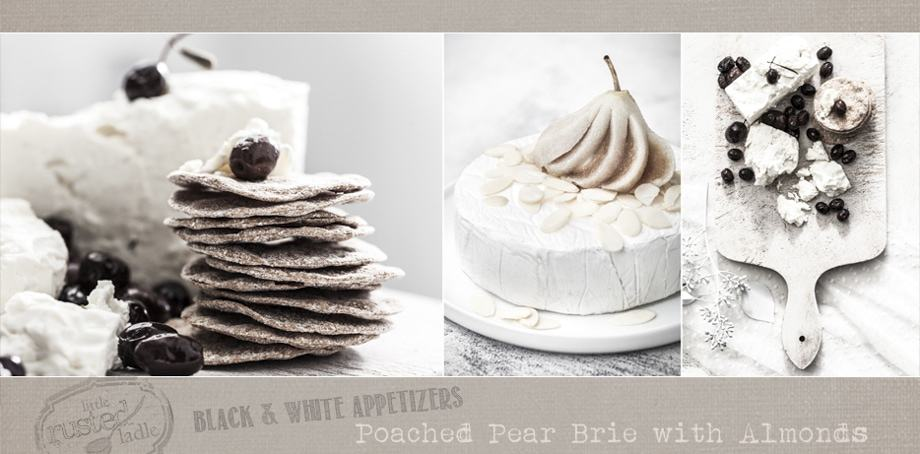 Poached Pear Brie Appetizers Black and White Holiday New Years Eve Party  | www.littlerustedladle.com