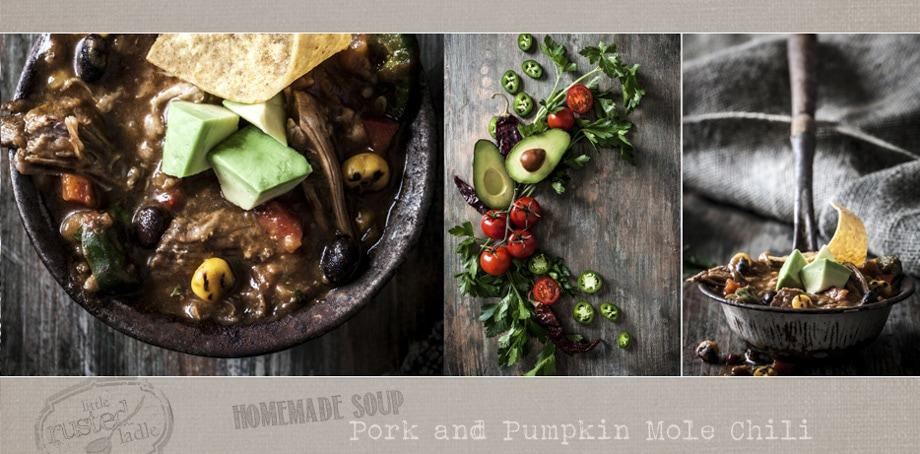 Homemade Soup Recipe | Pork and Pumpkin Mole Chili  | www.littlerustedladle.com