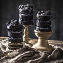 Three mini Wild Berry Pound Cakes with Mascarpone Yogurt Creme and fresh berries