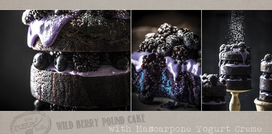 Wild Berry Pound Cake with Mascarpone Yogurt Creme Recipe | www.littlerustedladle.com