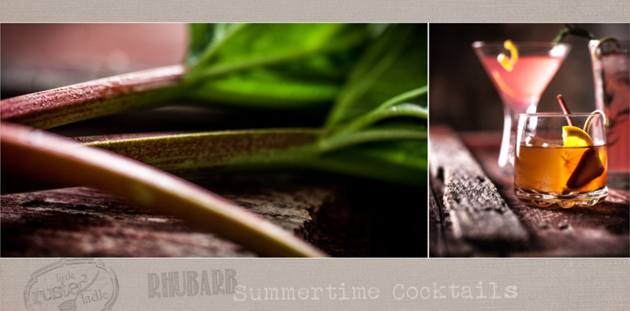 Rhubarb summer cocktail recipes  | www.littlerustedladle.com #rhubarb #cocktails #foodphotography