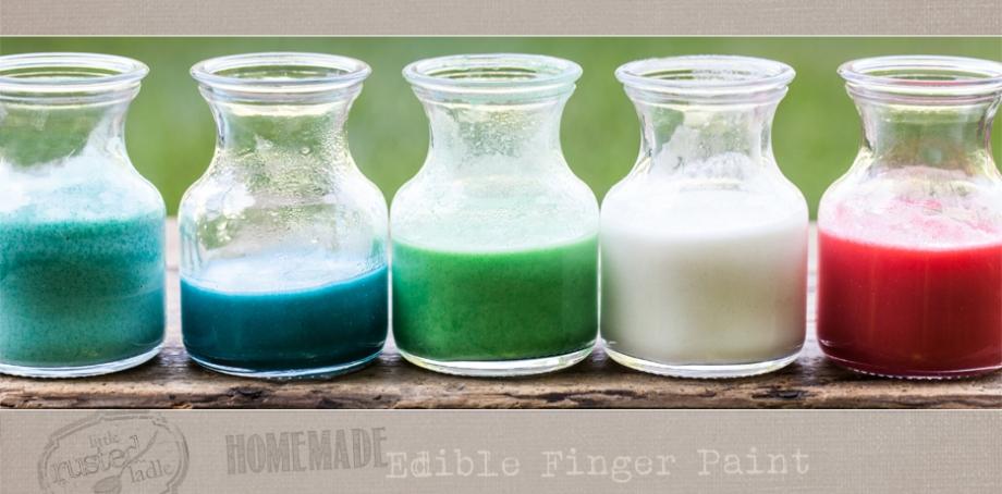 Homemade Edible Finger Paint | Little Rusted Ladle | #fingerpaint #edible #babyactivities