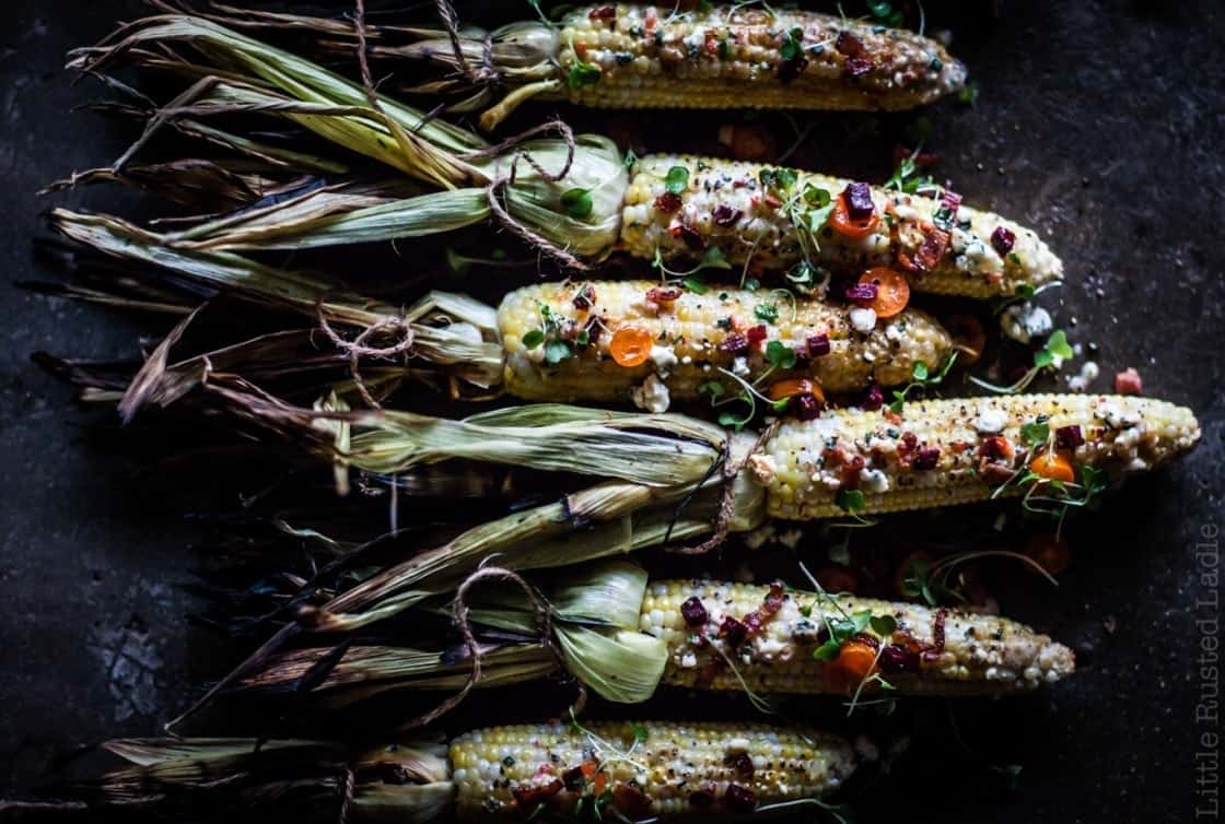 fire roasted corn on the cob. moody lighting