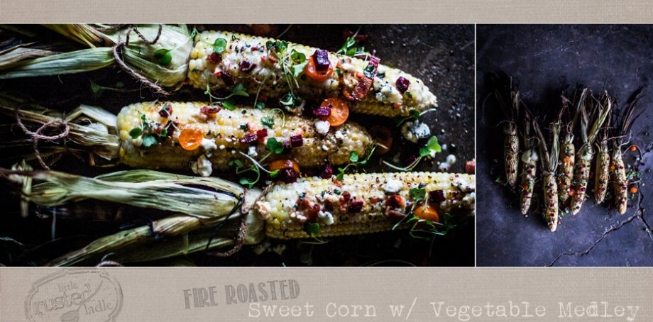 Farmers Market - Fire Roasted Corn on the Cob Recipe - www.littlerustedladle.com - Midwest food photography - Editorial #foodphotography #foodstyling #sweetcorn