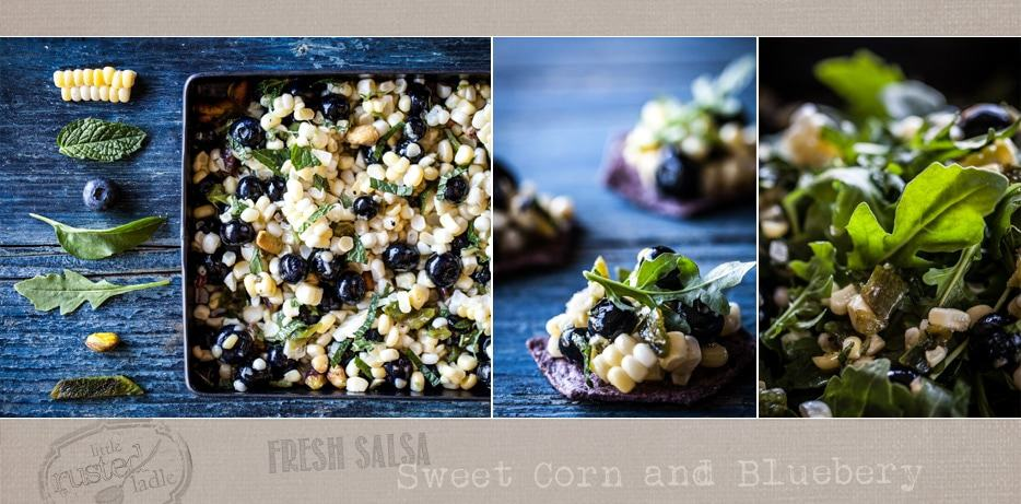 Banner photo of ingredients picture, finished salsa on a blue corn chip and the blueberry sweet corn salsa salad.