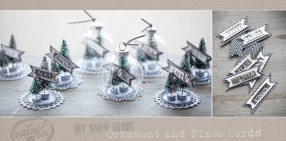 DIY Snow Globe Ornament Place Cards Craft 2- Little Rusted Ladle Blog