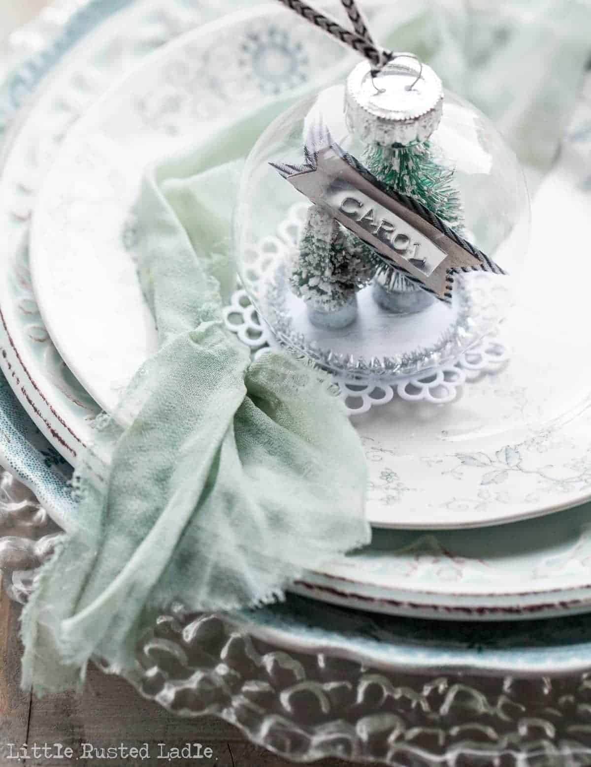 DIY Snow Globe Ornament Place Cards - Little Rusted Ladle Blog - 18 96WM