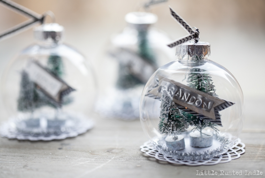 DIY Snow Globe Ornament Place Cards - Little Rusted Ladle Blog - 20 96WM