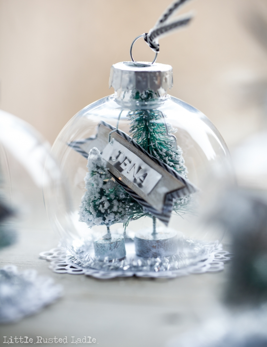 DIY Snow Globe Ornament Place Cards - Little Rusted Ladle Blog - 7 96WM