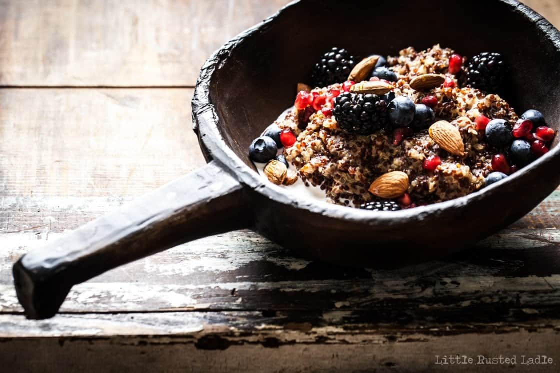 ancient grains quinoa cockpot oatmeal in cast iron bowl