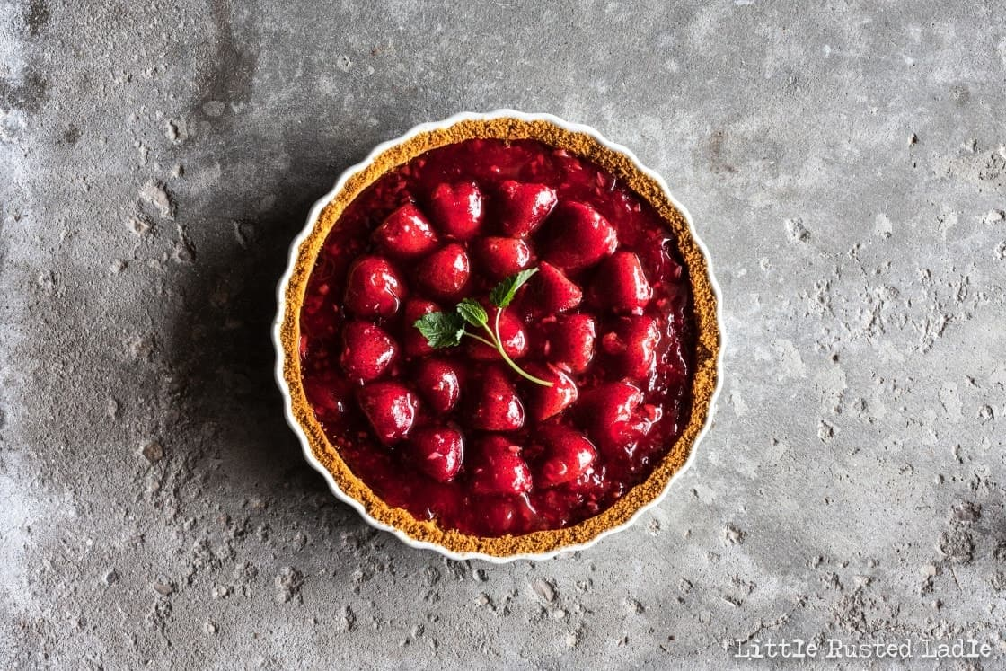 overhead picture of perfect strawberry pie