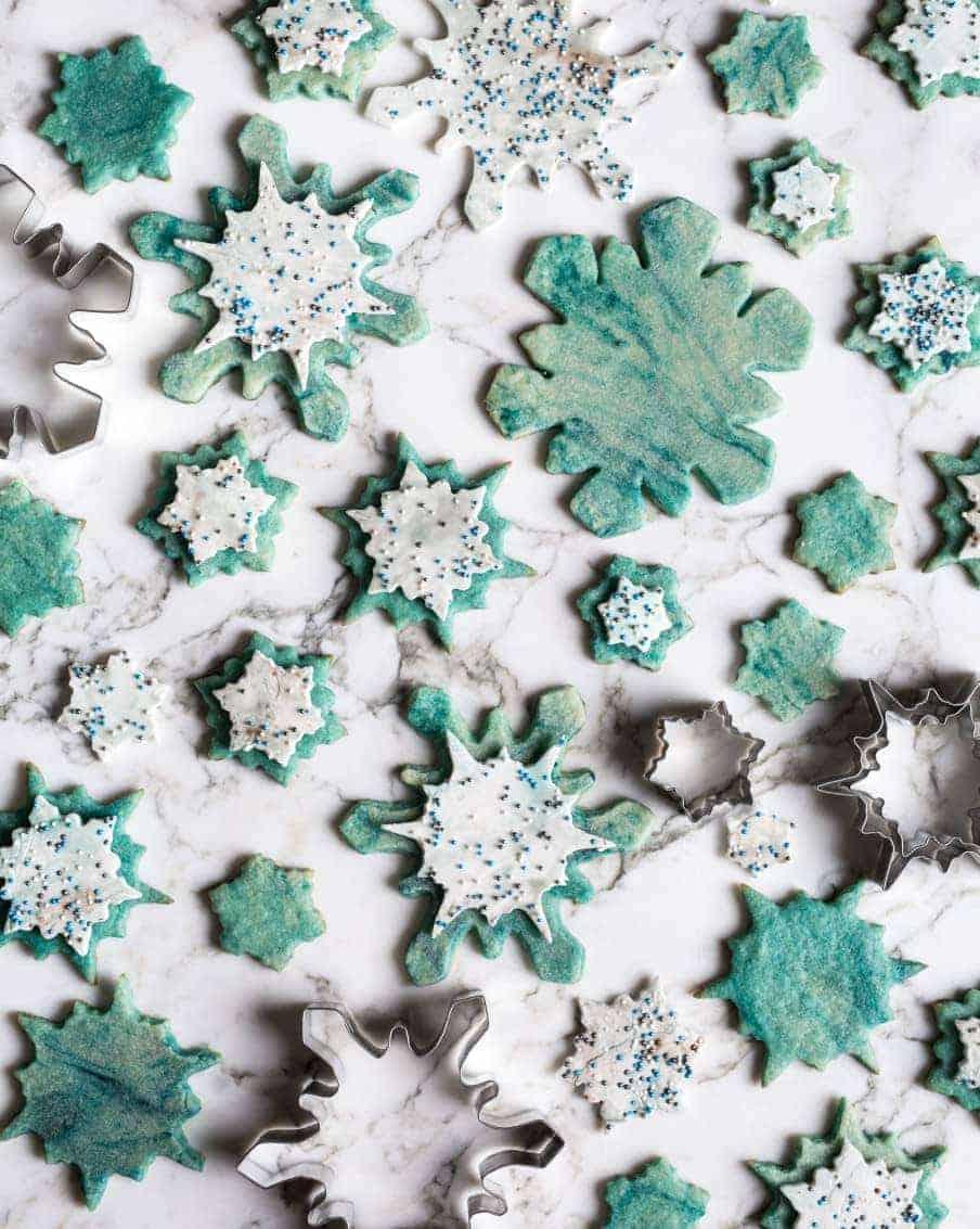 watercolor painted snowflake sugar cookies