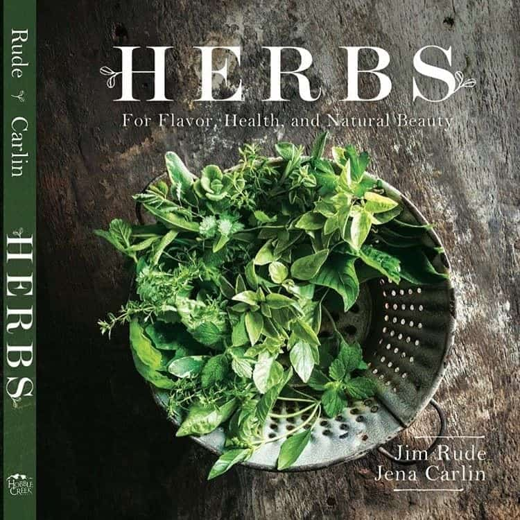 Cover of book with fresh herbs titled Herbs for Flavor, Health, and Natural Beauty