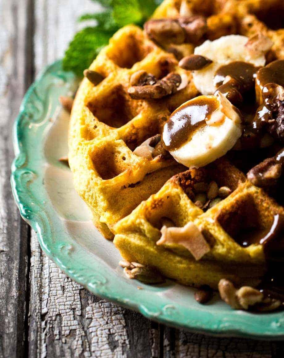 Turmeric Waffles with Double Nut Cream Recipe