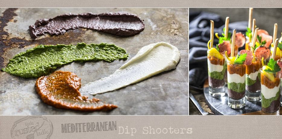 Four Mediterranean dips spread on stone and assembled Mediterranean dip shooters