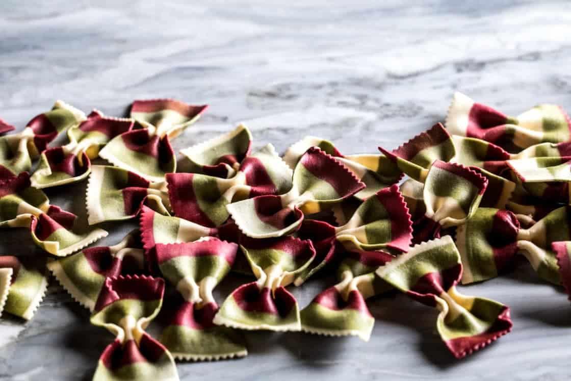 tri-color bow tie pasta
