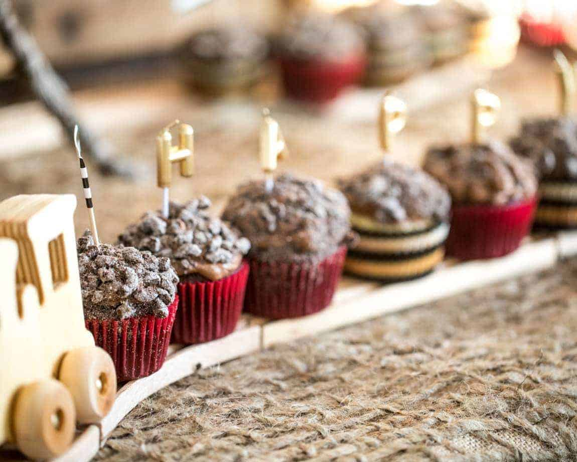 Chocolate Coal cupcakes on wooden train track