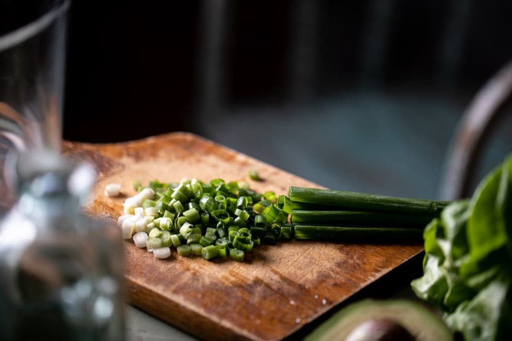 Chopped green onions.