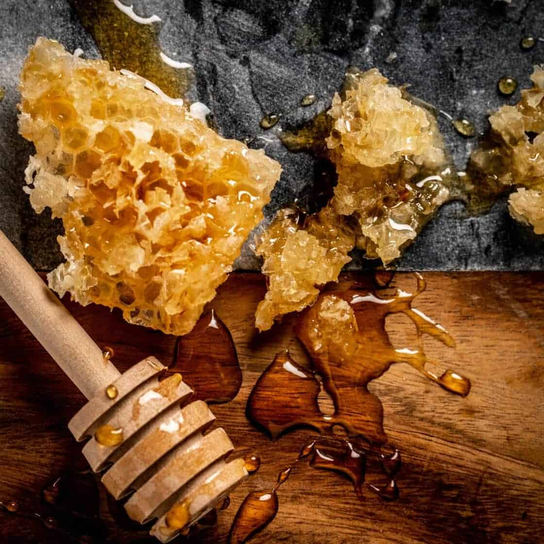 Roth cheese board wtih honey comb and honey stick