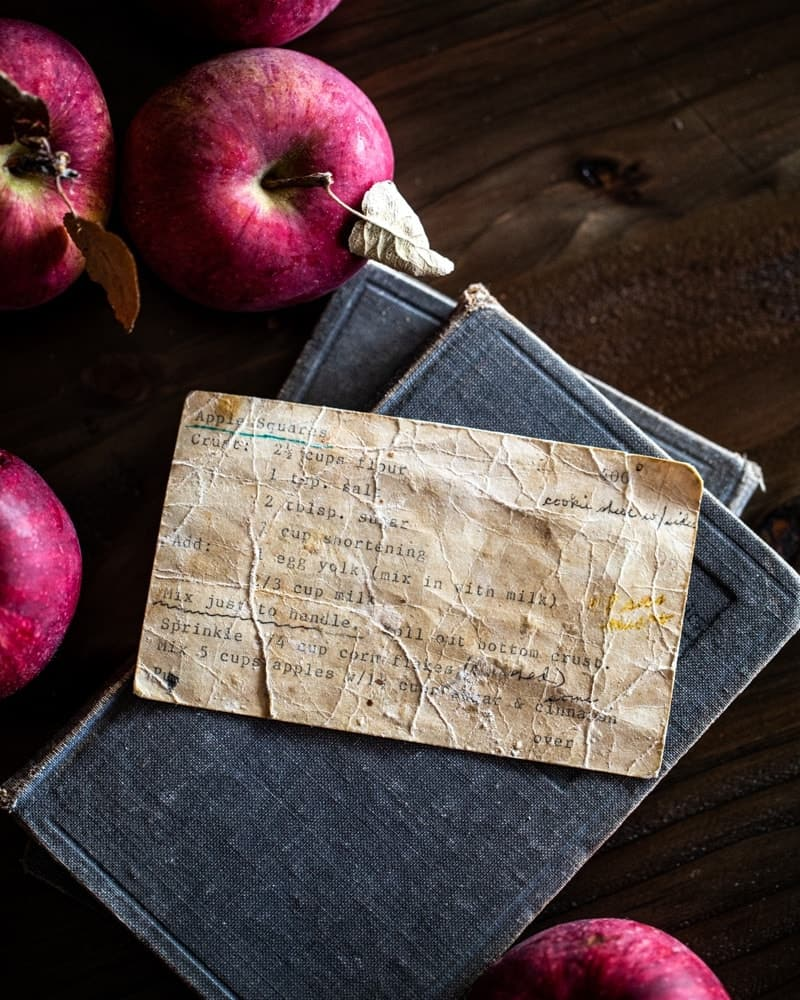 Old recipe card still life with apples