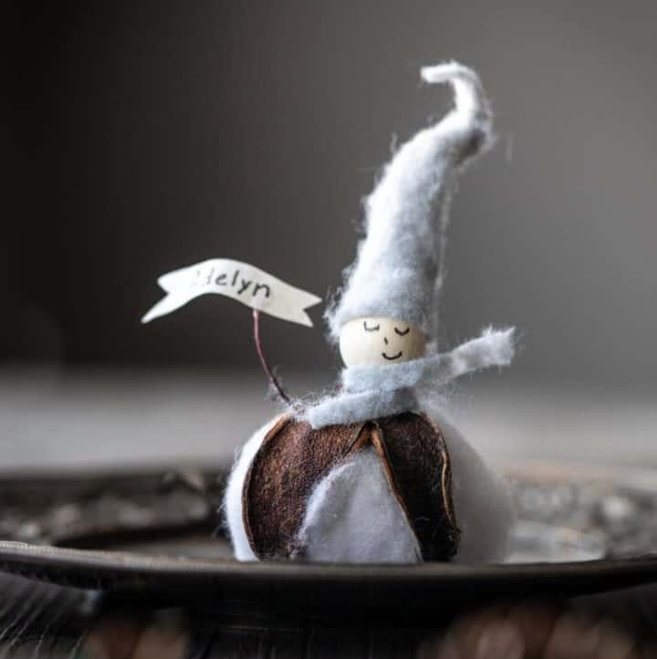 Elf Place Card with Blue hat and scarf with cotton blossom body.