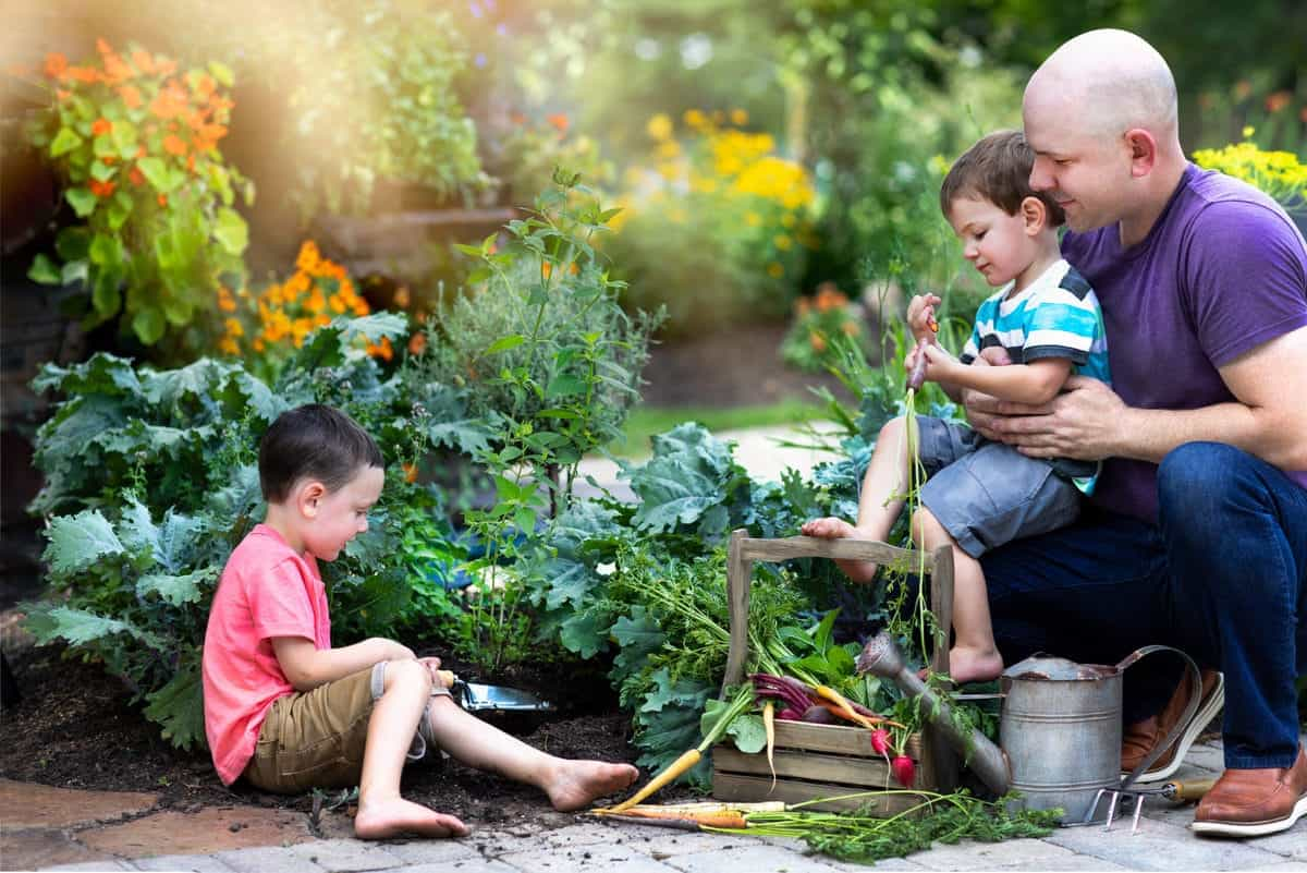 Family in a beautiful location gardening