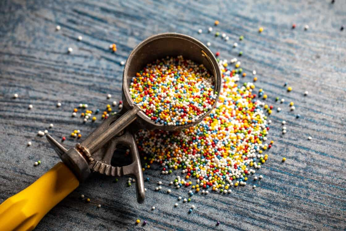 colorful sprinkles in an ice cream scoop