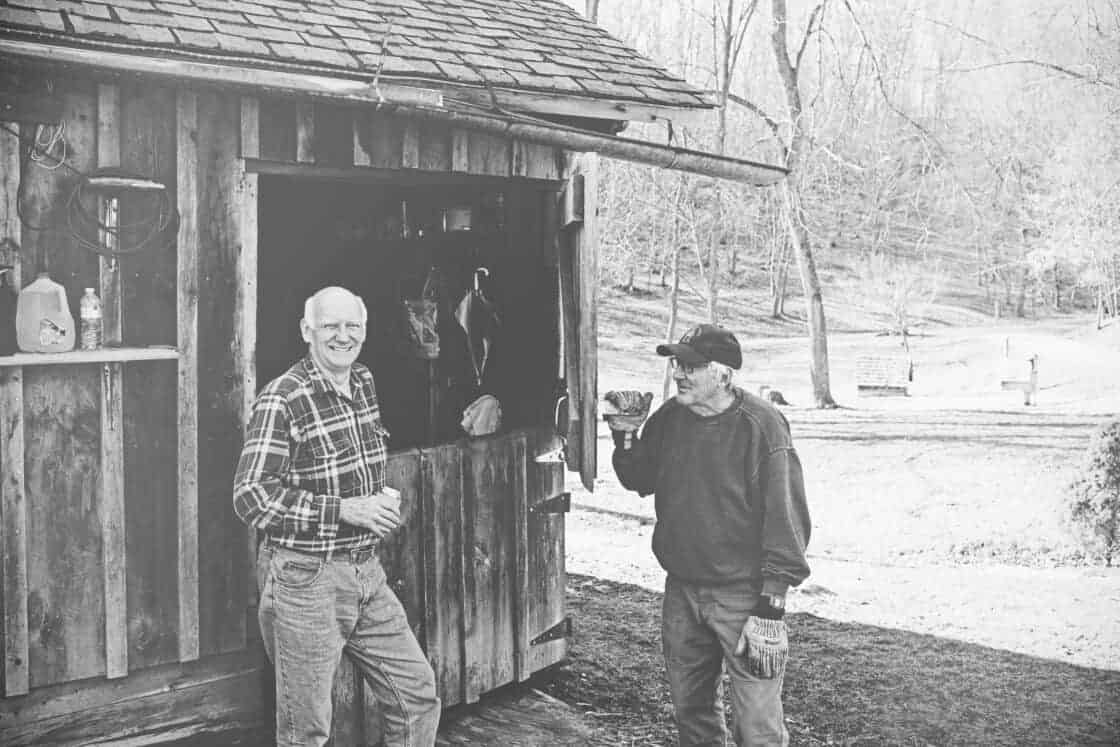 Men at a maple syrup farm