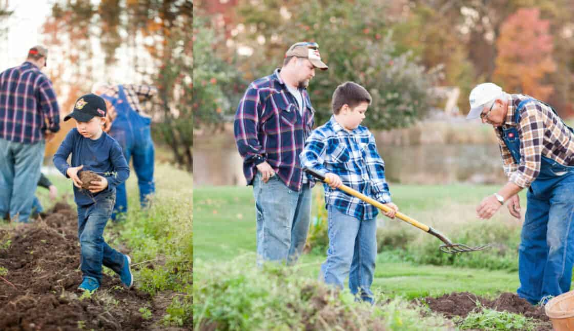 Grandpa and grandson working on the apple orchard