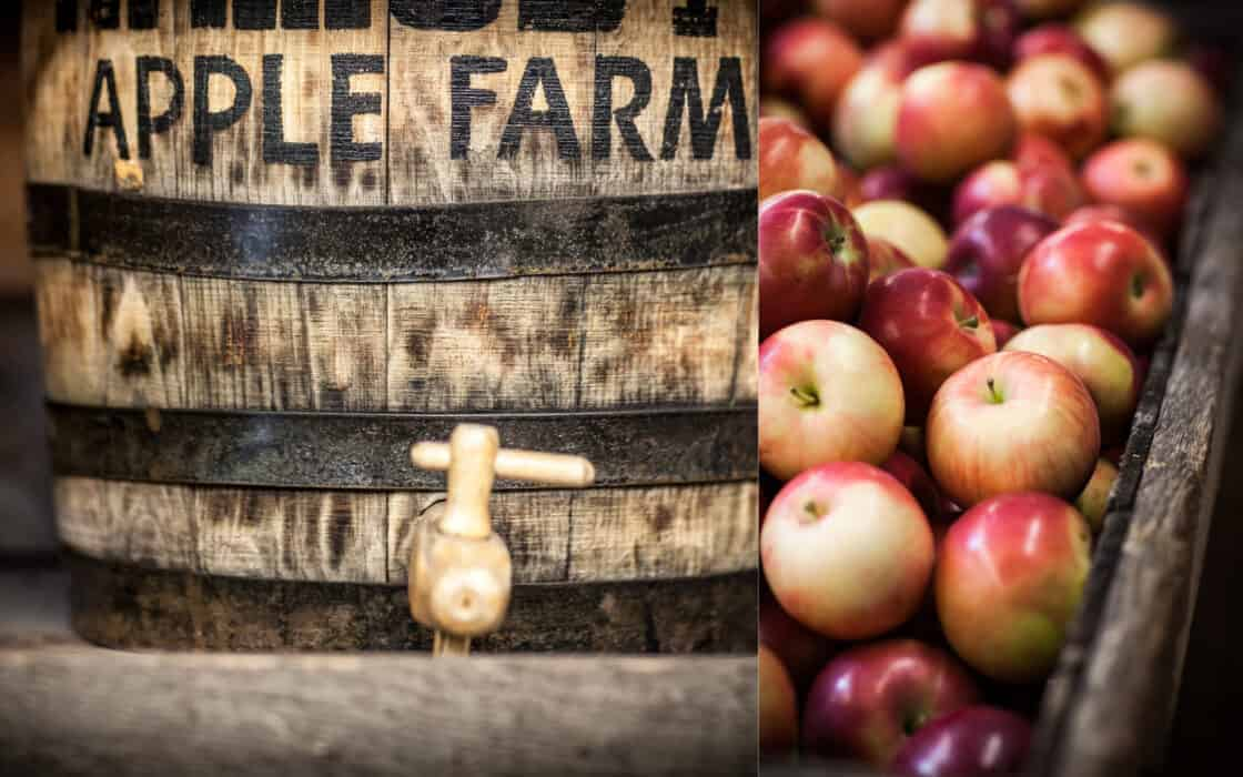 Split photo of apple barrel and a box full of fresh red apples