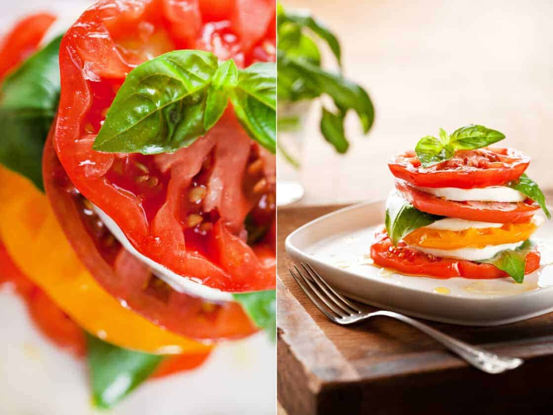 vibrant closeup photos of sliced tomatoes with olive oil and fresh herbs