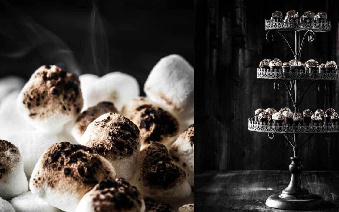 toasted marshmallows black and white dessert