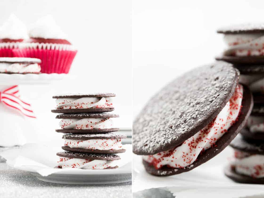 Stack of peppermint whoopie pies