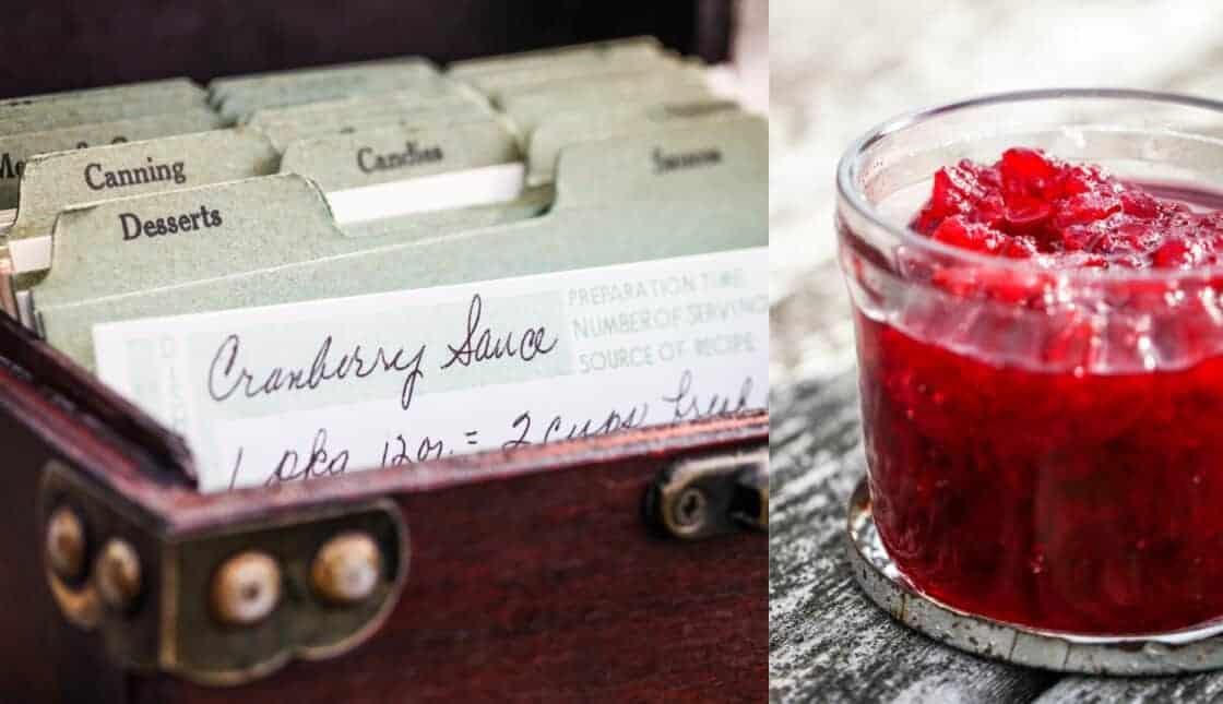 Family recipe box with cranberry jam recipe