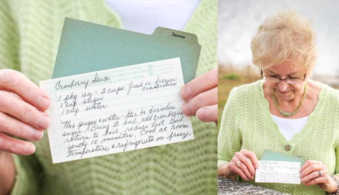 Split photo of grandma holding her recipe card and zoomed in on recipe card with apron