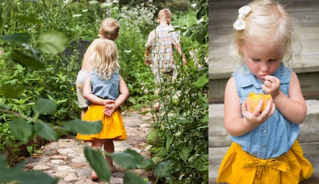 kids walking through a garden path and eating a lemon