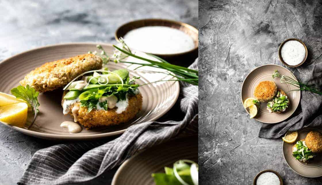 lightly fried fish cakes with green onions