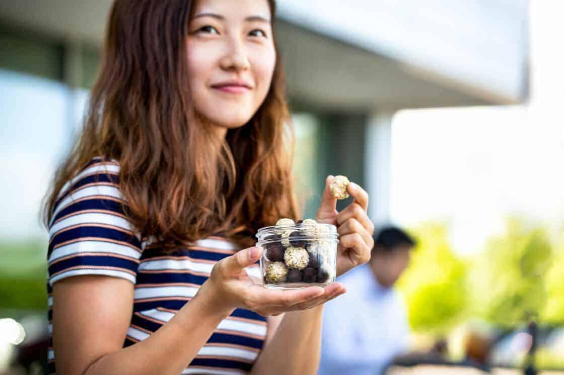 Girl eating healthy snacks
