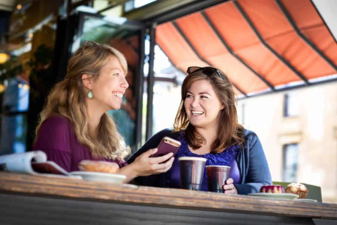 Girls drinking coffee at coffee shop