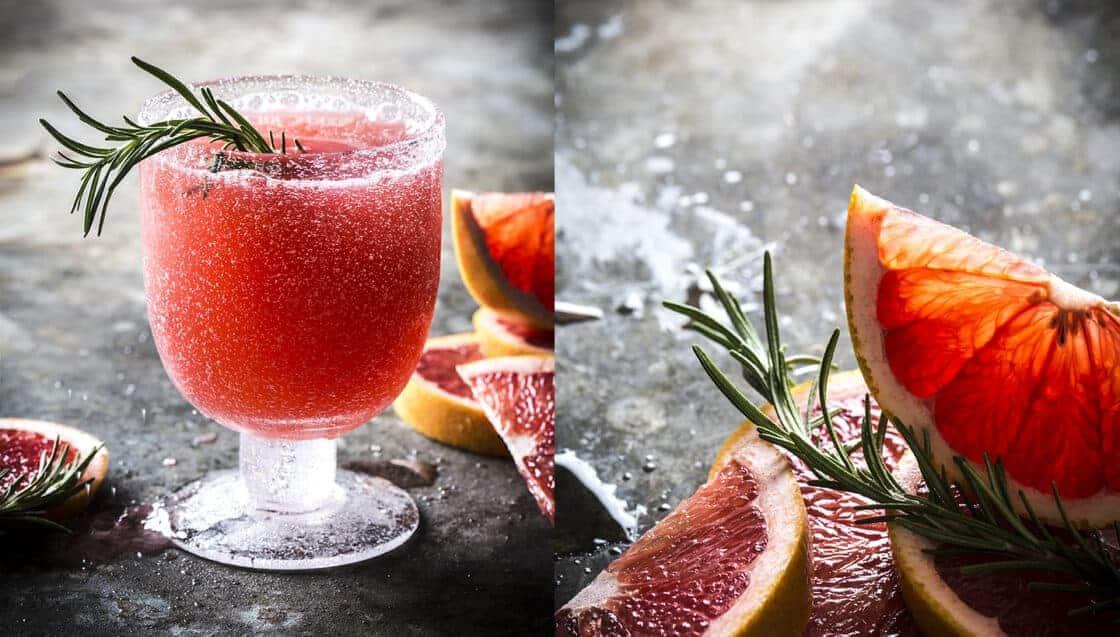 Grapefruit and a frozen grapefruit drink