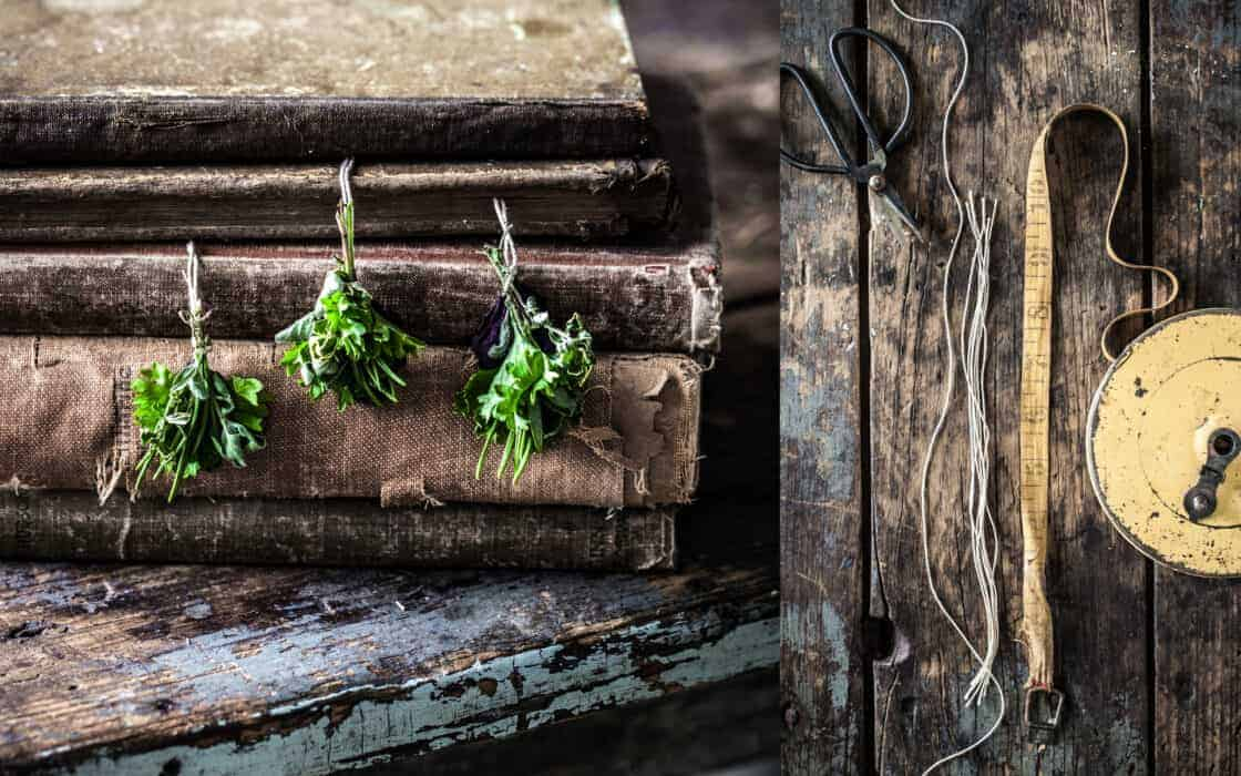herbs pressed in old books