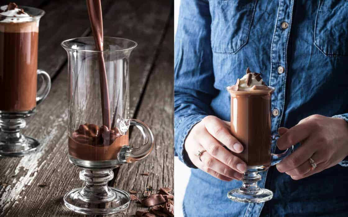 Pouring hot chocolate into a coffee glass and person in denim holding a glass a